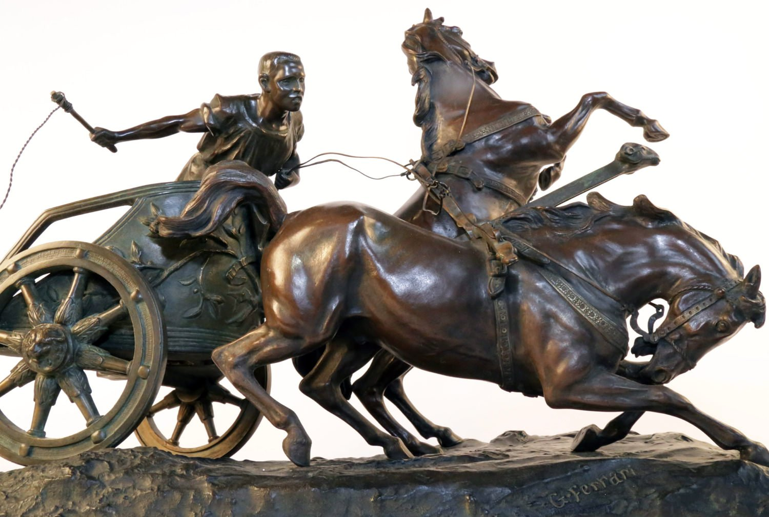 Ferrari Driving School >> Giuseppe Ferrari 19th Century Bronze, Horse and Chariot | Collection | WOLFS Fine Paintings and ...