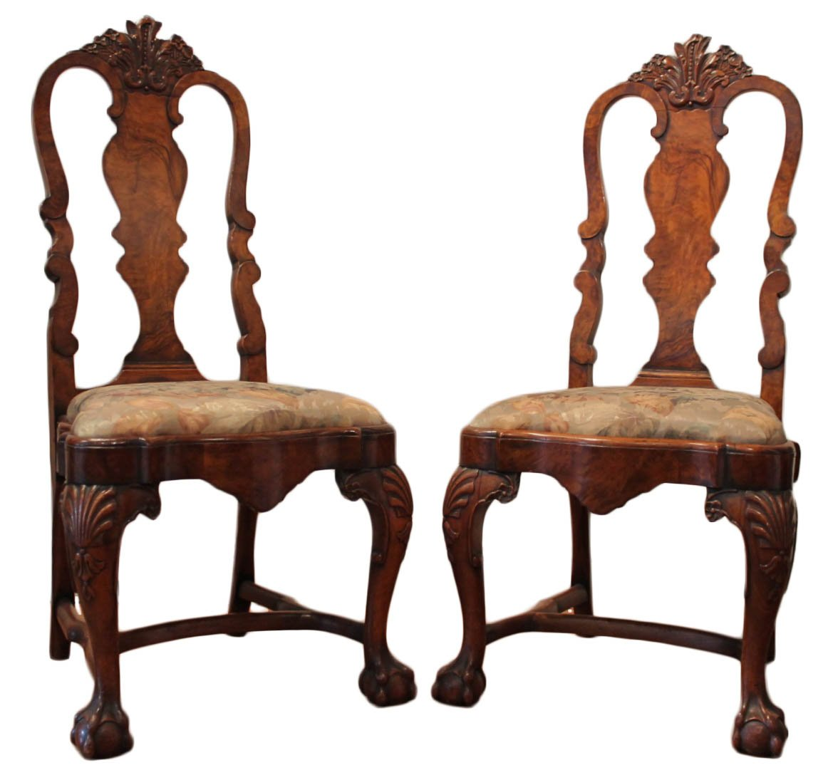 Portuguese Burl Walnut Colonial Rococo Style Side Chairs