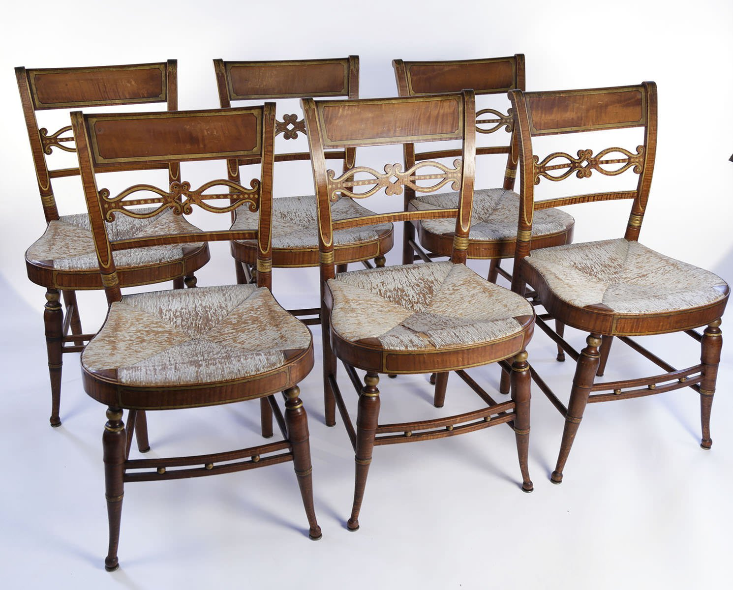 very fine set of eight american sheraton tiger maple fancy chairs