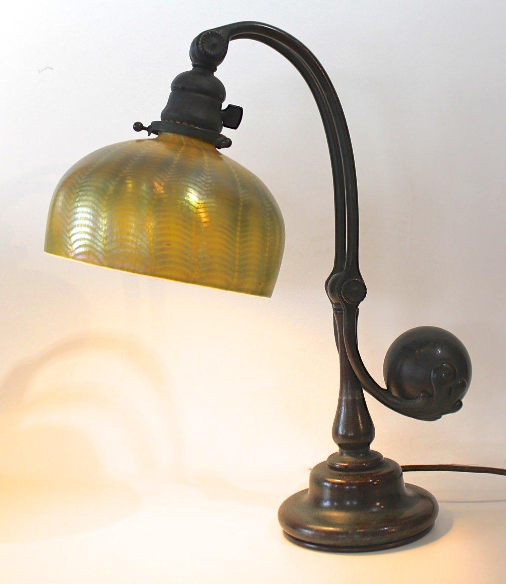 Tiffany Studios Bronze Counterbalance Desk Lamp With
