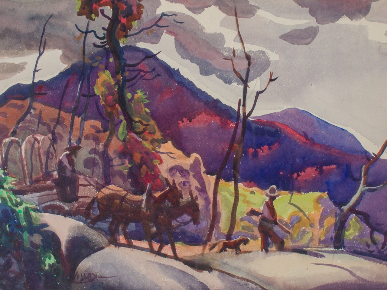 Mountaineer on Mule Drawn Wagon Trail by Frank Nelson Wilcox