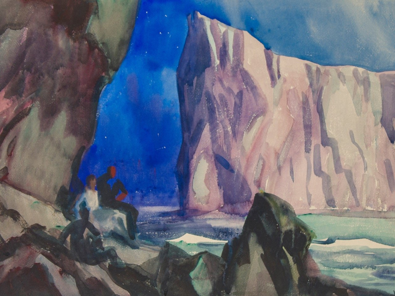 Percé Rock by Moonlight, Bonaventure Island, Gaspé, Canada by Frank Nelson Wilcox