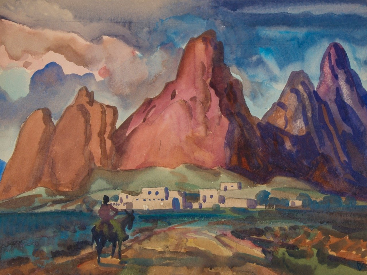 Sun Drenched Pueblo by Frank Nelson Wilcox