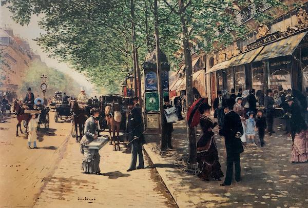 Scene de Grand Boulevard devant la Maison Klein by Jean Beraud