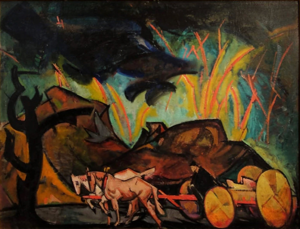 Cart with Horse and Rider by William Sommer