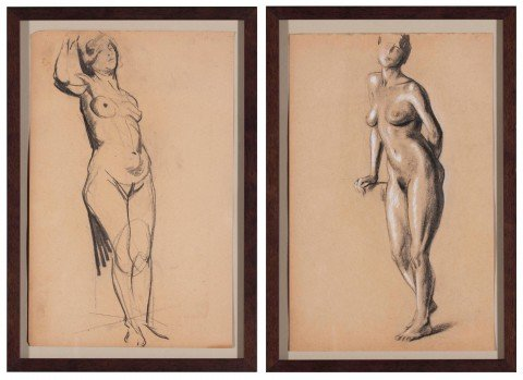 Pair of Charcoal Drawings (Standing Nude, Leaning Nude)