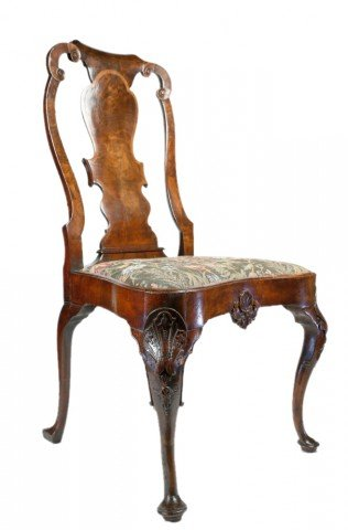 18th Century English Mahogany Carved Side Chair
