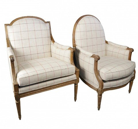 Two 18th c. French Bergeres, assembled pair, Louis XVIth period