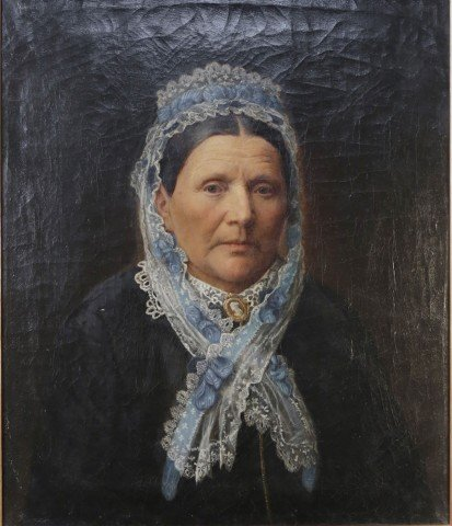 19th Century American Portrait of a Woman in a Lace Bonnet with a Blue Ribbon