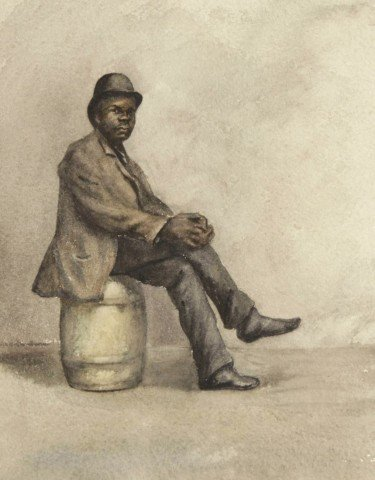 Gentleman Seated on a Barrel