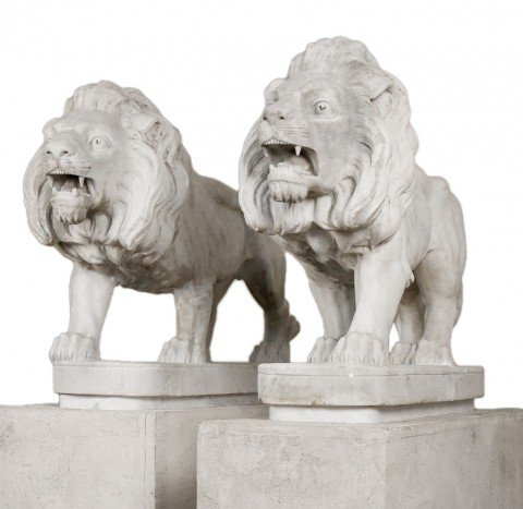 Matched Pair of 19thc. Carrara Marble Italian Carved Lions