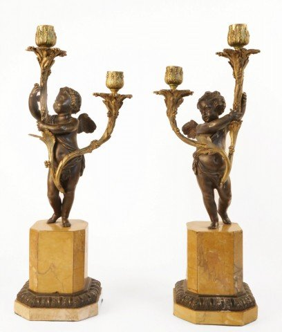 Pair of Bronze and Gilt Bronze Figural Candelabra