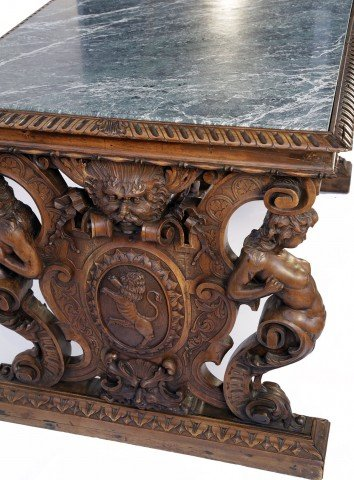 19th Century Italian Renaissance Style Marble Top Library Table  by 19th Century Italian School