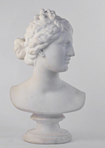 Carved Marble Bust of the Goddess Aphrodite