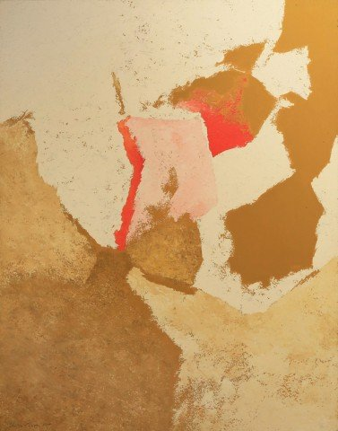 Abstract in Ochre, Pink and White