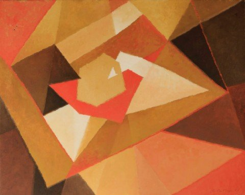 Abstract in Orange, Brown and Cream