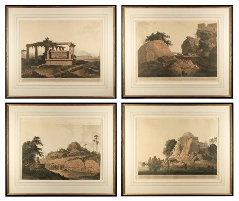 Set of Four Aquatints from 'Oriental Scenery' by Thomas DaniellWilliam Daniell