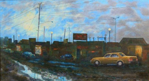 Parking Lot, Rainy Night by William A. Van Duzer