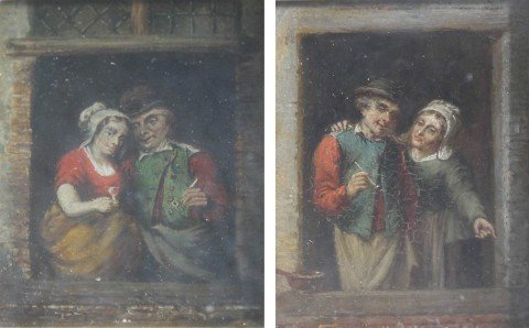 Through the Tavern Window-18th/19thc. Dutch School, a Pair of Paintings
