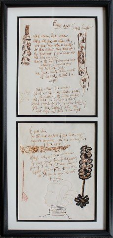 Femme Noir, by Leopold Senghor, Handwritten by Romare Bearden with pen and ink drawings in margins