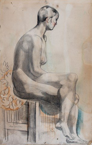 Figurative Pencil and Watercolor on Paper Drawing: