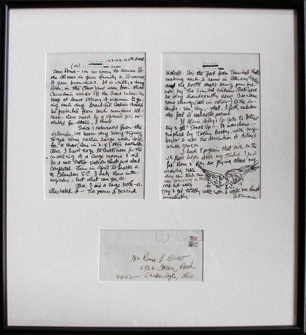 Two Framed Letters with drawings by Romare Bearden by Romare Bearden