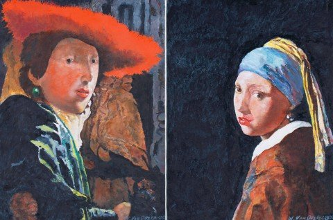 Pair of Portraits after After Johannes Vermeer, Girl with a Pearl Earring and Girl with Red Hat