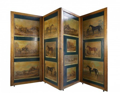 Rare English Figured Maple Four Panel Hinged Screen with Decoupaged Coaching Scenes and Thoroughbreds