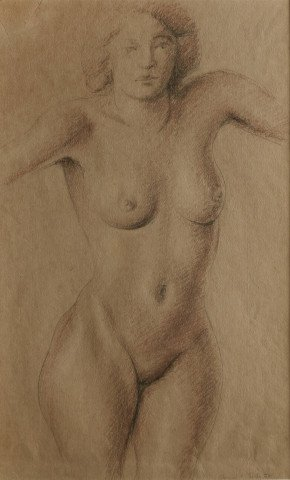 Figurative Conté Crayon and Graphite on Paper Drawing: