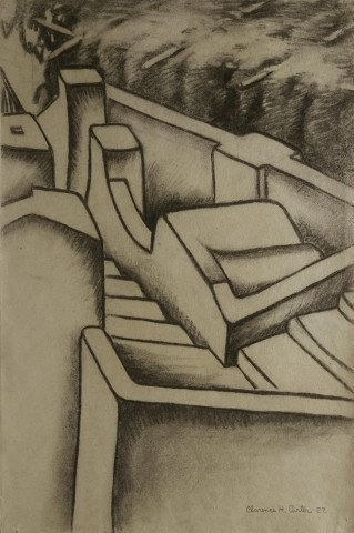 Landscape Charcoal on Paper Drawing: