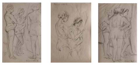 Figurative Graphite on Paper Drawing: