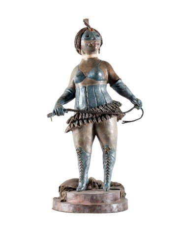 Figurative Cold Painted Bronze Sculpture: