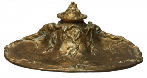 A Gilt Bronze Inkwell, Cast as an Ivy Covered Tree Stump