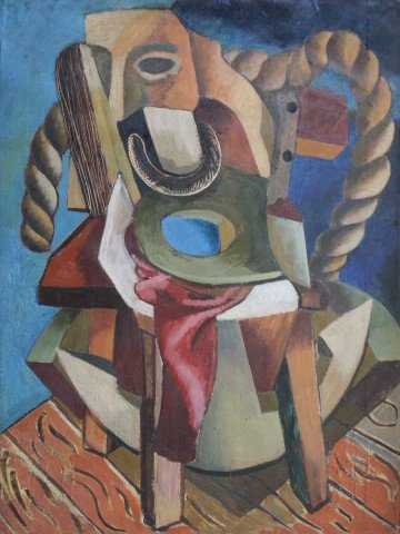 Cubist Still Life with Rope, Chair and Theatrical Mask
