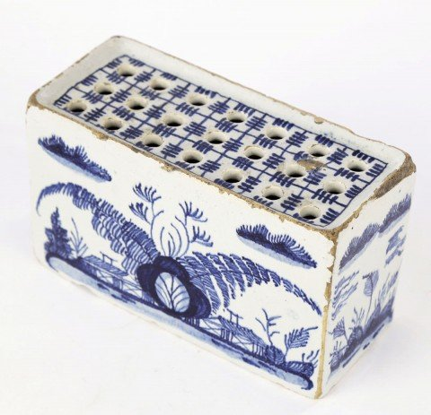 Delft Blue and White Glazed Flower Brick by 18thc. Dutch School