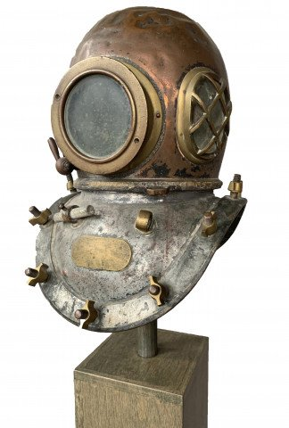 Early Twentieth Century Brass and Copper Diving Helmet