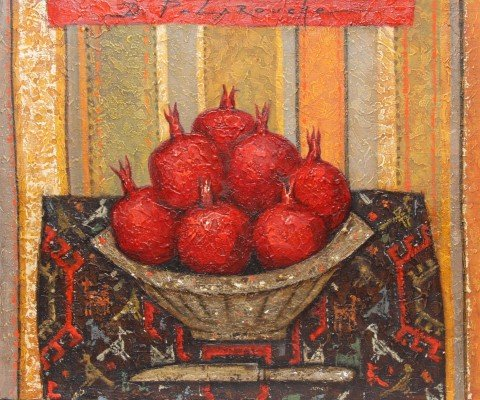 Still Life with Pomegranates, Knife and Textile