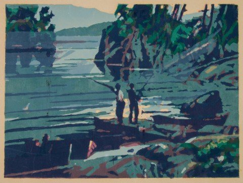 Figurative Landscape Silkscreen on Paper Painting: