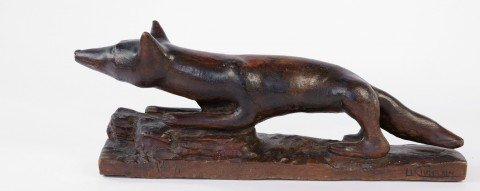 An Early 20thc. School Carved Wood Fox, Le Chatelain