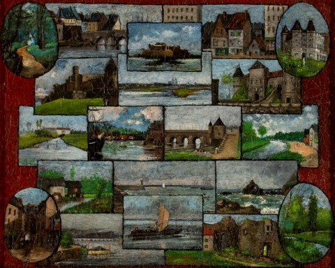 19th Century French School, French Landscape Mosaic