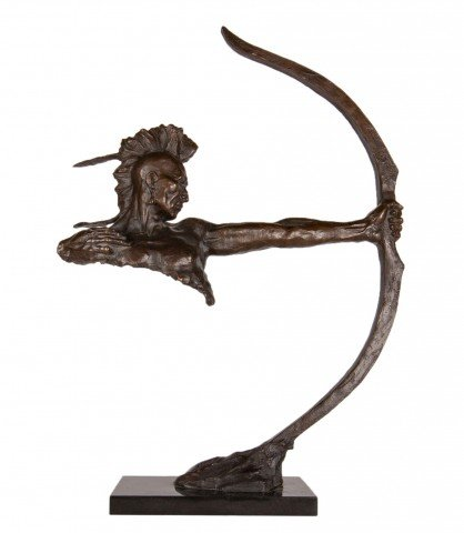 Figurative Bronze Sculpture on Black Stone Base Sculpture: