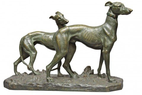 Two Whippets by Giacomo Merculiano
