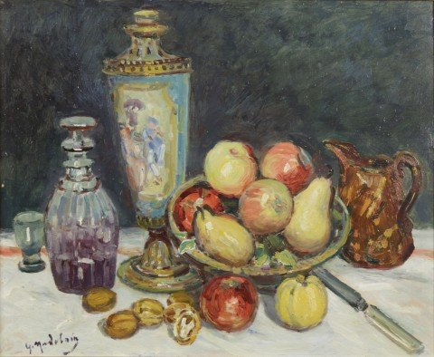 Gustave Madelain - Still Life with Fruit, Decanter, Vase and Jug