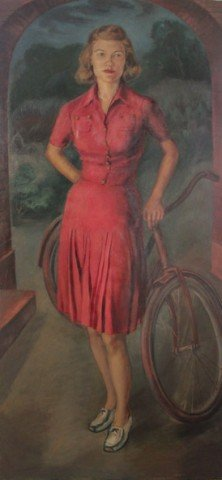 Portrait of a Young Woman with Her Bicycle