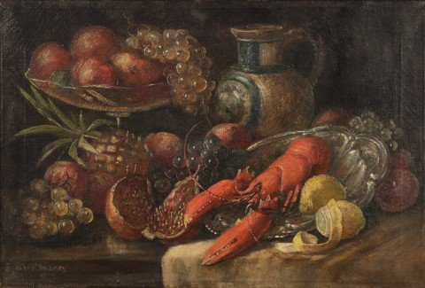 Still Life with Lobster, Pomegranate, Fruit and Jug