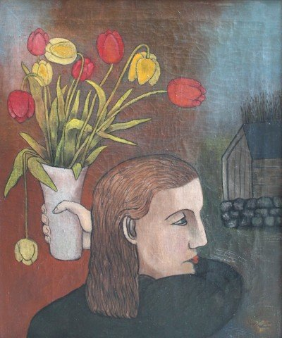 Girl with Vase of Tulips