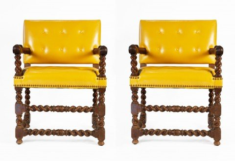 Pair of Late 17thc. English Open Armchairs with Canary Yellow Leather Upholstery