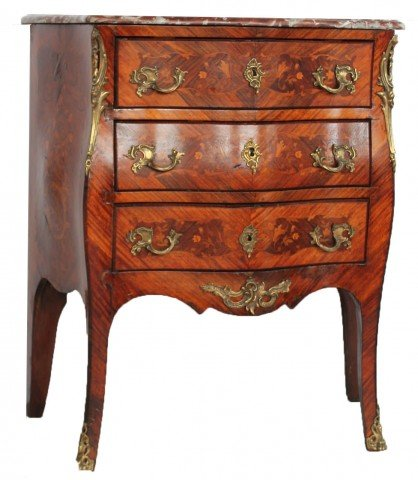 Louis XV Inlaid Marble Top Bombe Petite Commode, 18thc.