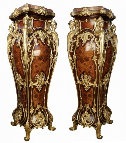 A Fine and Rare Pair Of Louis XV Style Gilt-Bronze Mounted Marquetry Inlaid Kingwood Pedestals by Maison Millet