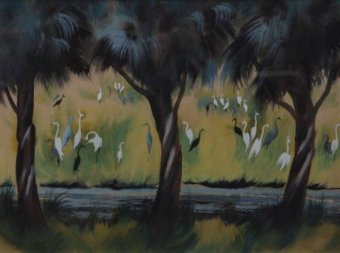 Egrets and Cranes in a Landscape